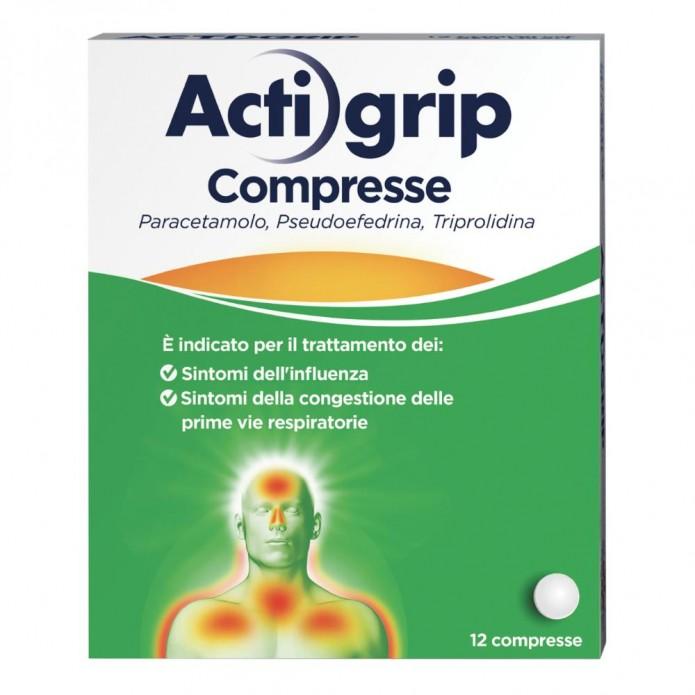 Actigrip 12 compresse 2,5 + 60 + 500 mg - Farmaco per i sintomi da raffreddamento