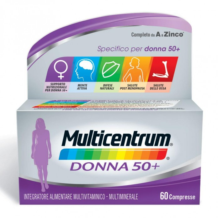Multicentrum Donna 50+ 60 compresse Integratore di vitamine e sali minerali